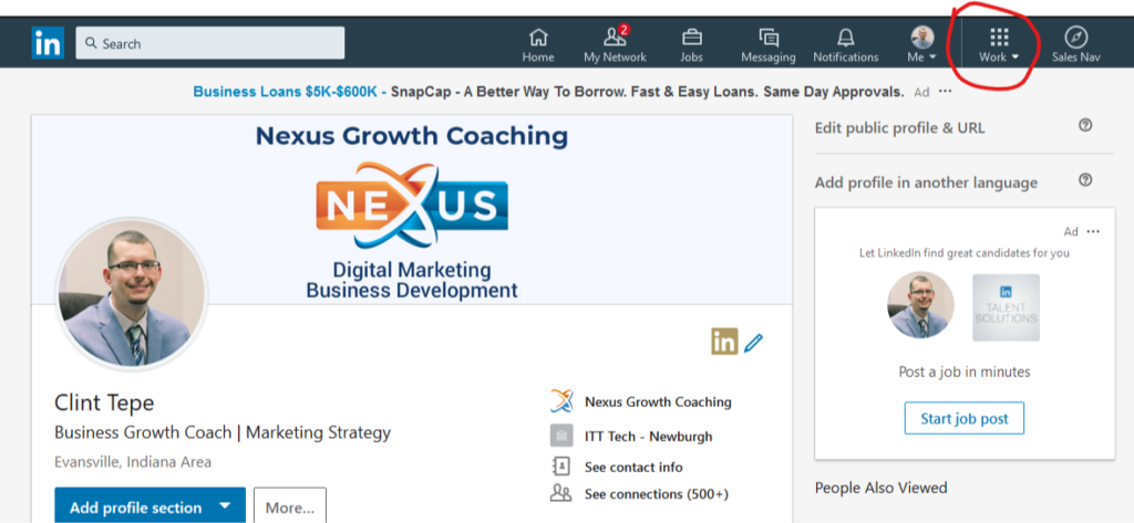 Create a LinkedIn Company Page - Step 1 - Work