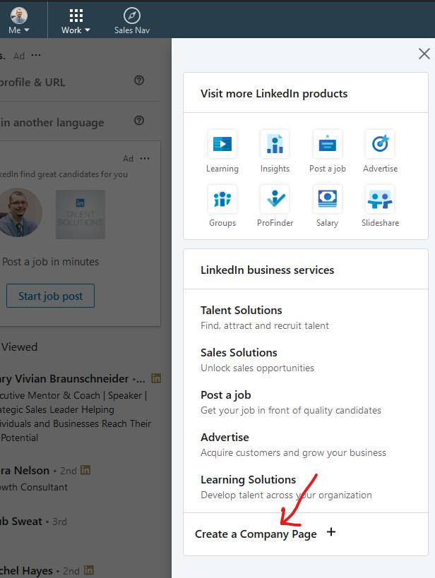 Create a LinkedIn Company Page - Step 2 - Create