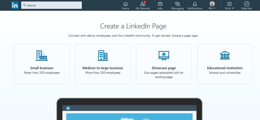 Create a LinkedIn Company Page - Step 3 - Type