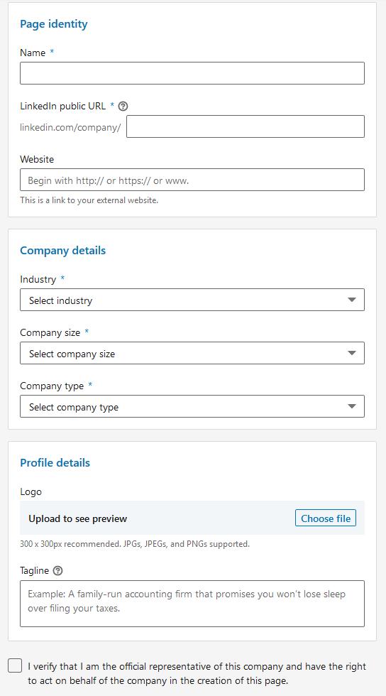 Create a LinkedIn Company Page - Step 4 - Details
