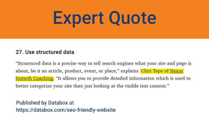 earned media example - expert quote